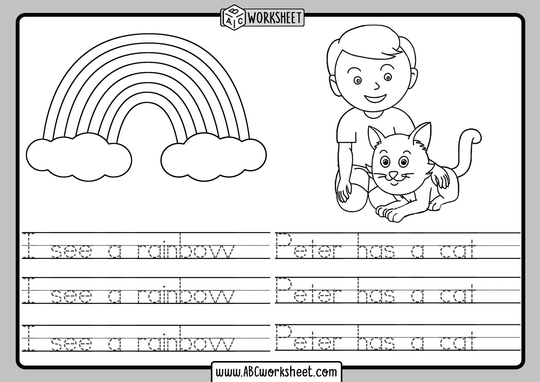 Handwriting Tracing Worksheets Kidergarten
