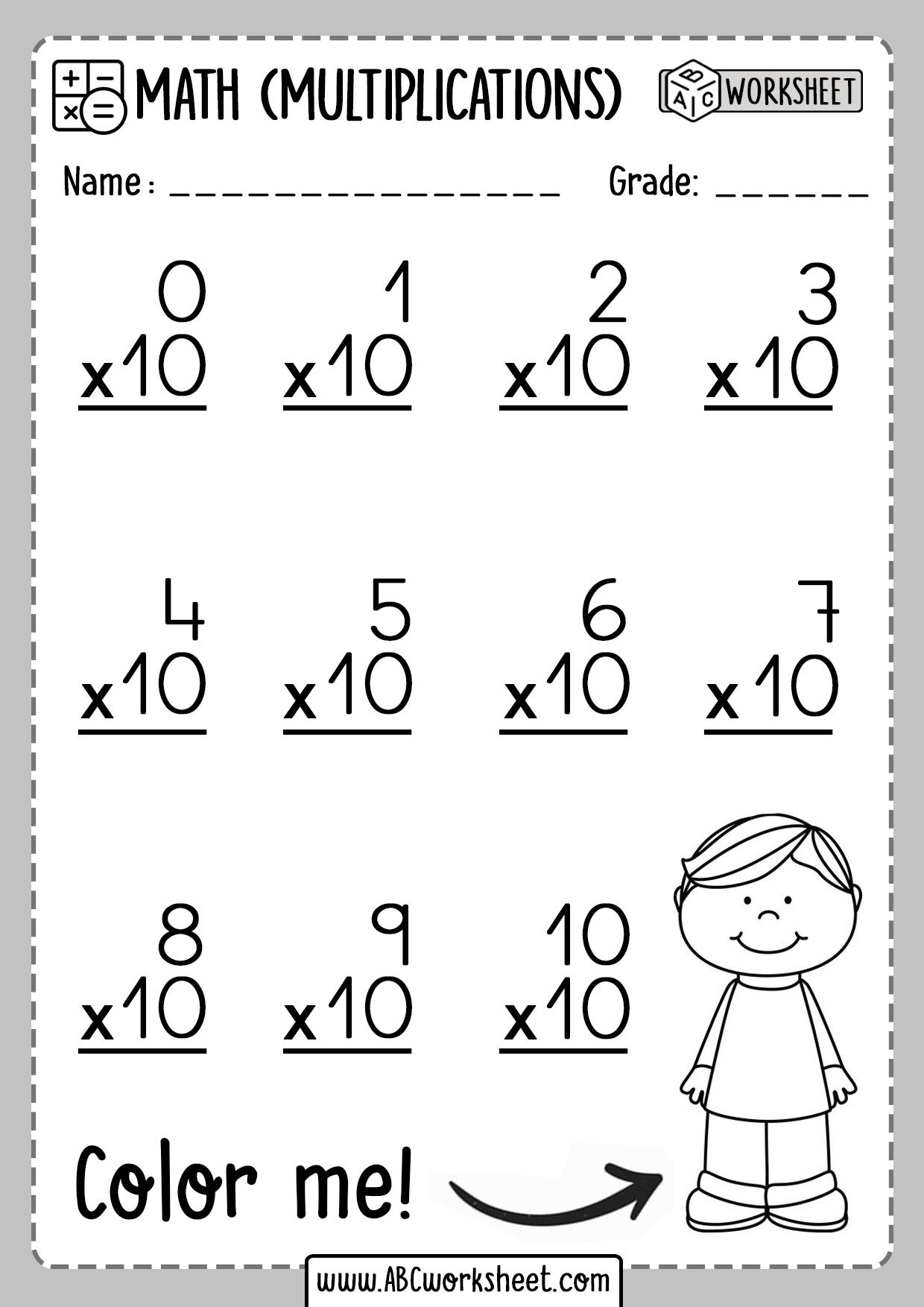 Multiplication Worksheets Number 10 Ten
