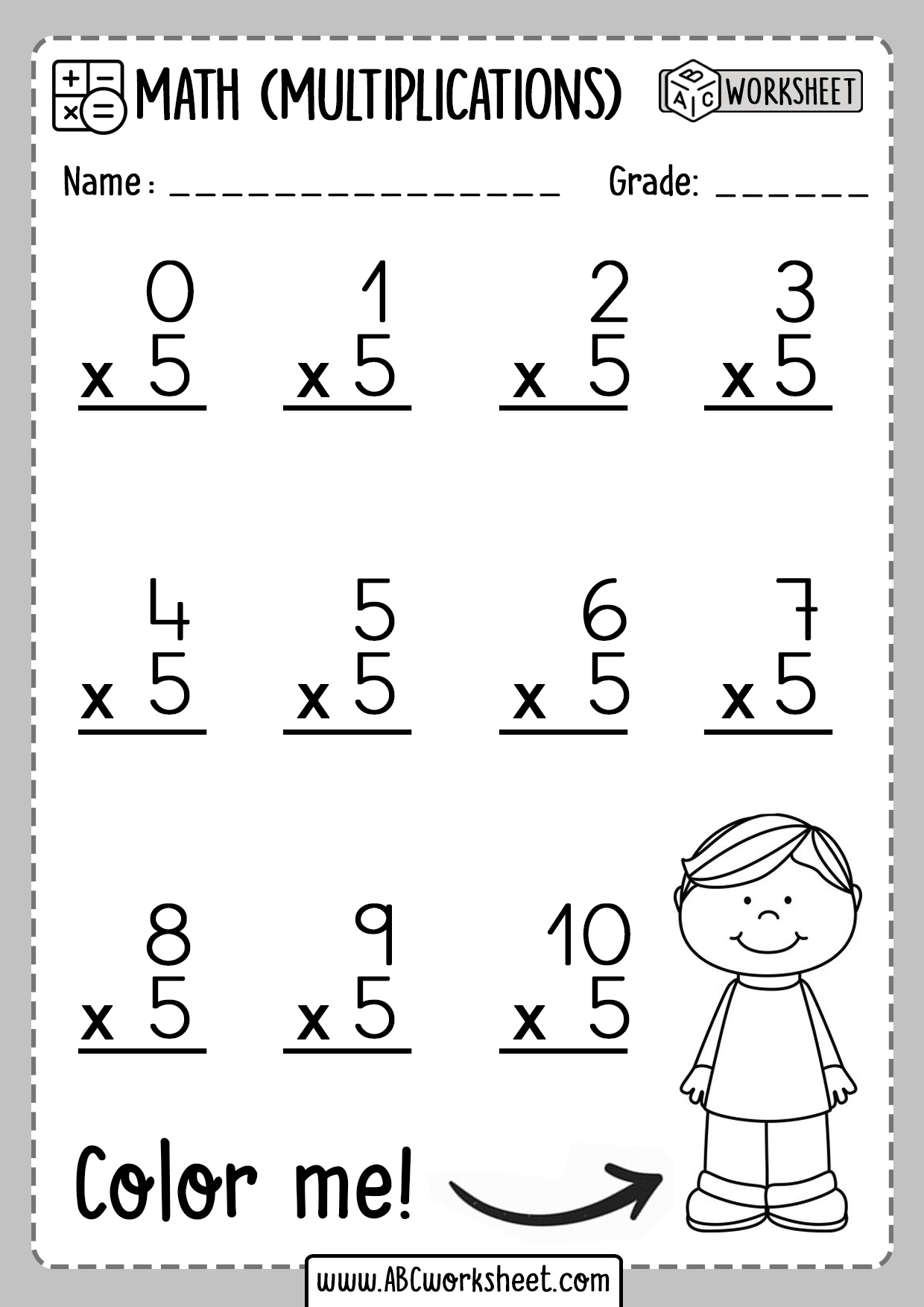 Multiplication Worksheets Number 5 Five