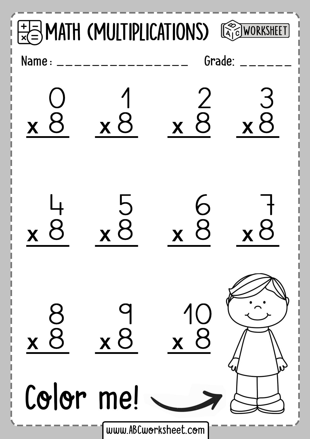 Multiplication Worksheets Number 8 Eight