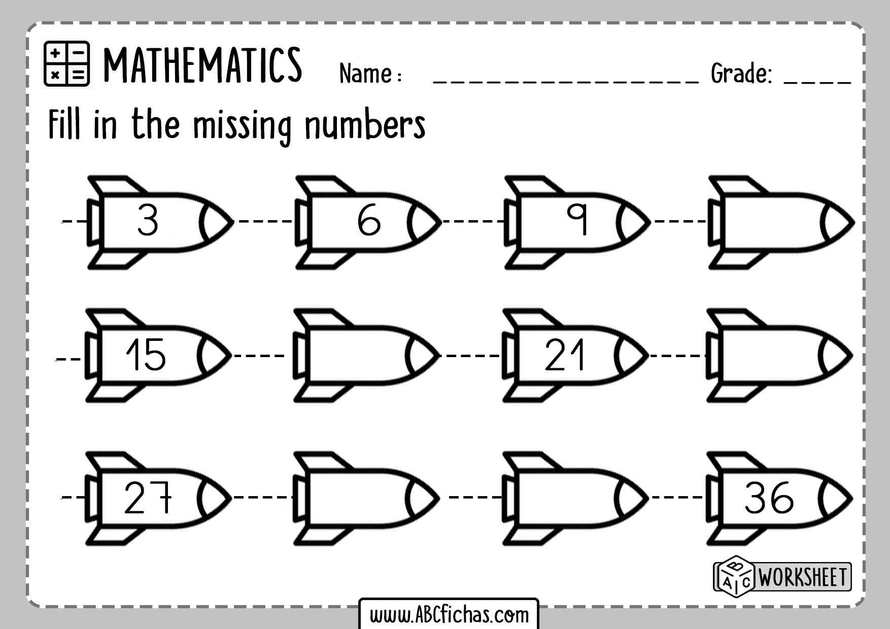 Number Sequence Worksheet