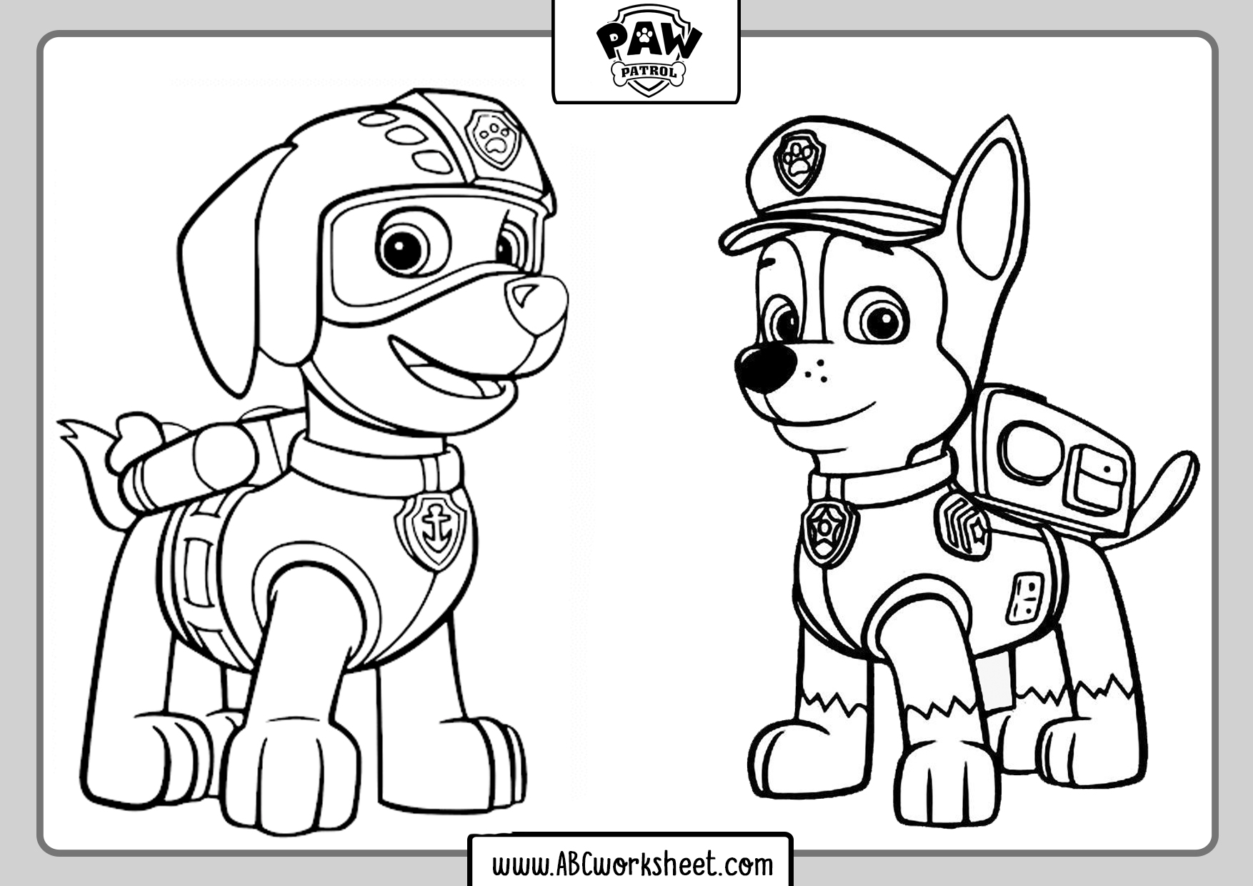 paw patrol coloring pages  abc worksheet