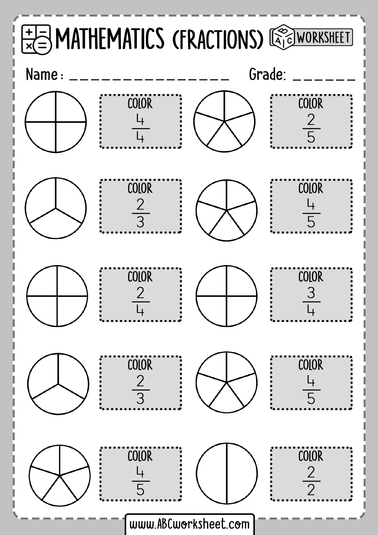 Printable Fractions Worksheets