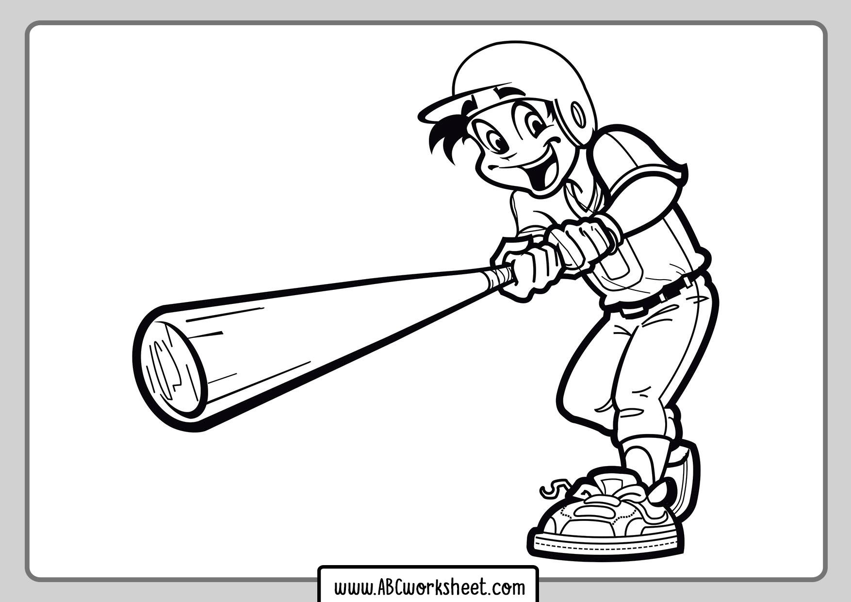 Baseball Player For Coloring