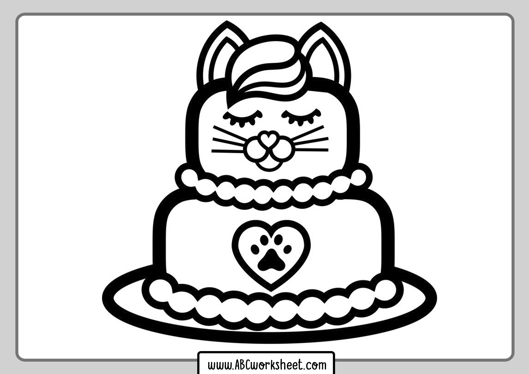 Cat Cake Coloring Pages