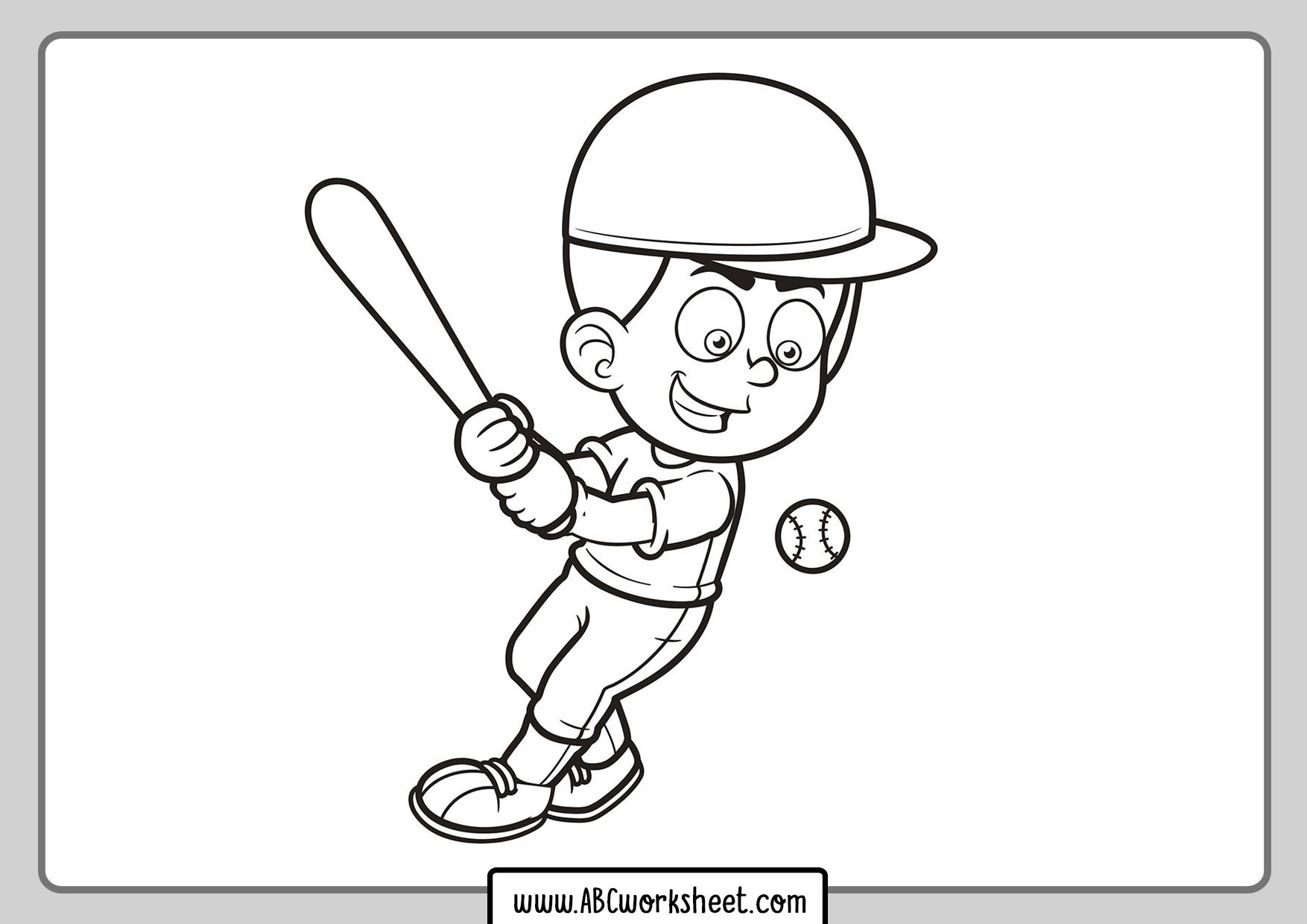 Kid Playing Baseball Coloring Page