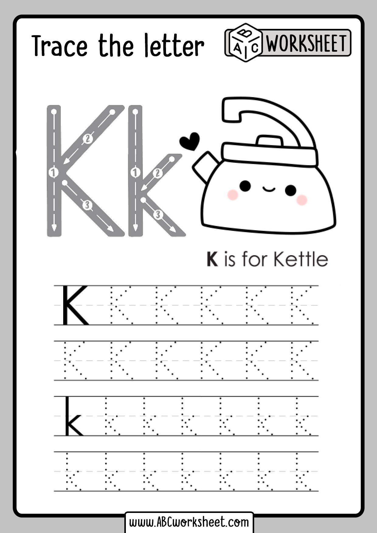 Letter K Tracing Worksheet