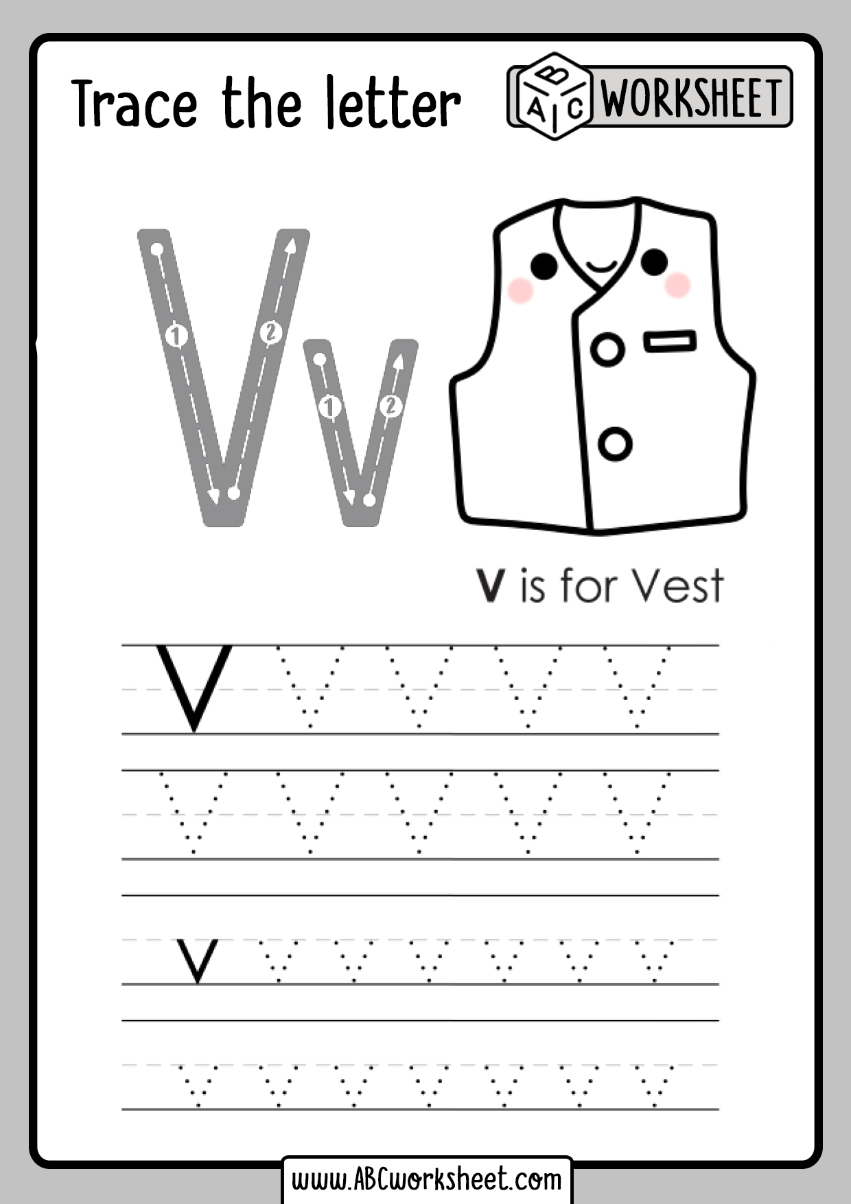 Letter V Tracing Worksheet