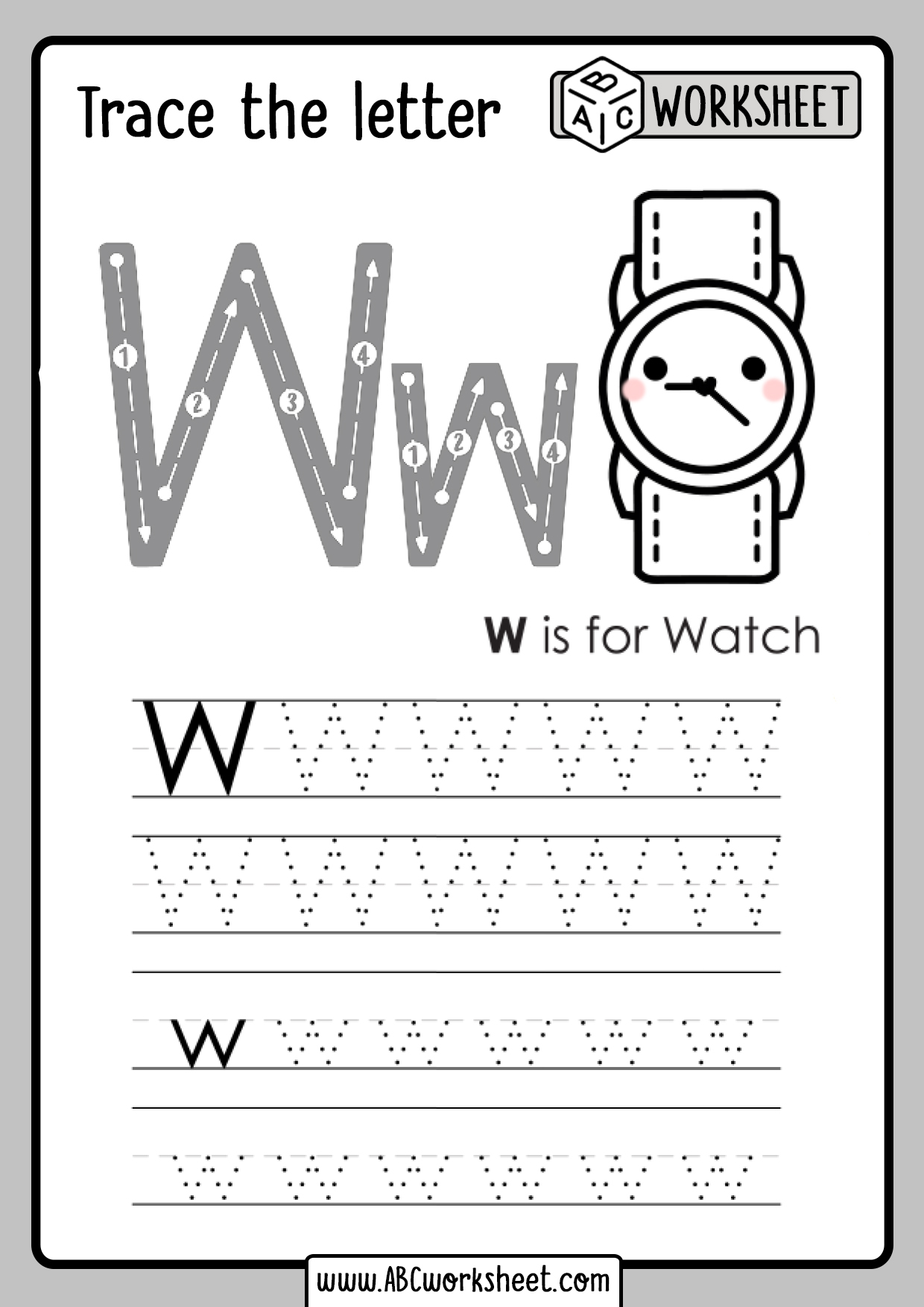 Letter W Tracing Worksheet