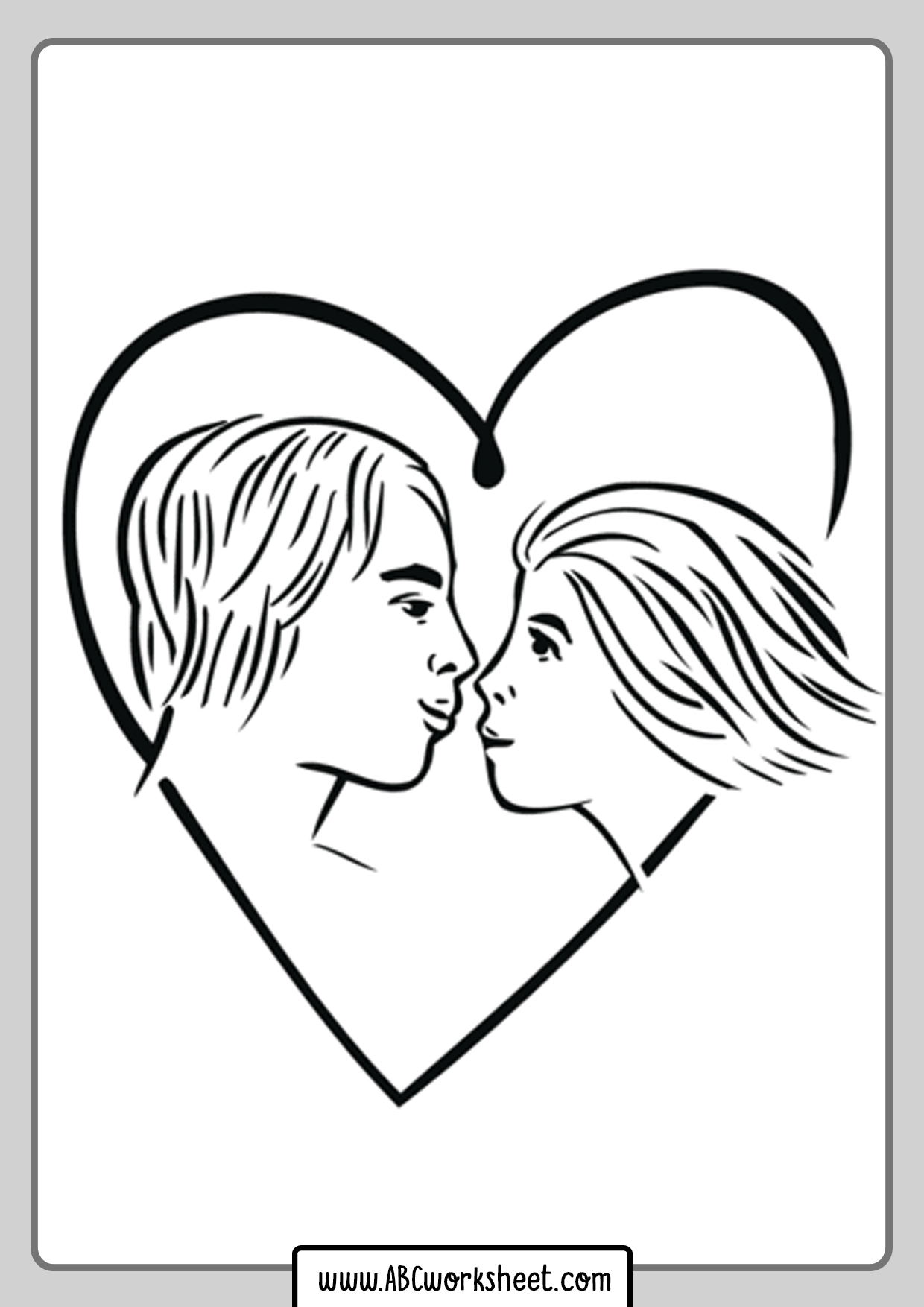 Love Copuple Heart Coloring Page