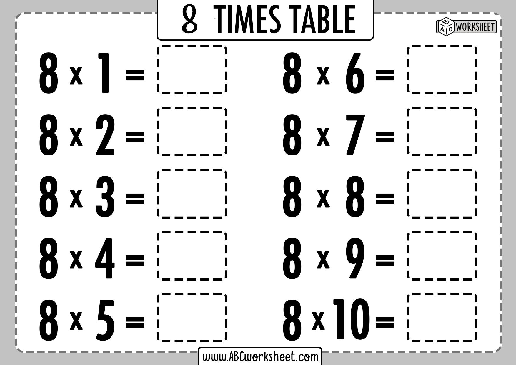 Multiplication Table Worksheets Grade 2