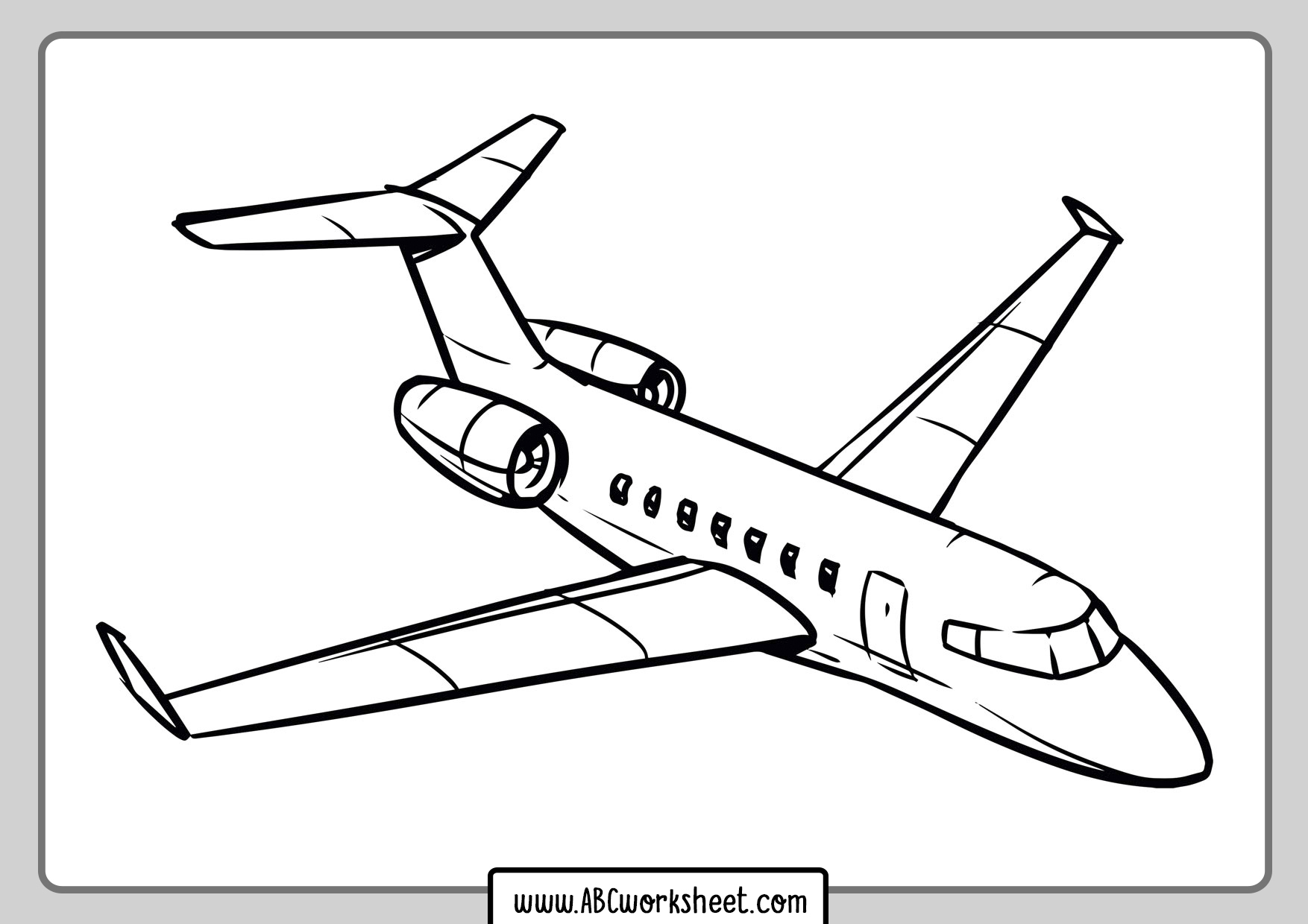 Private Jet Airplane Coloring Page