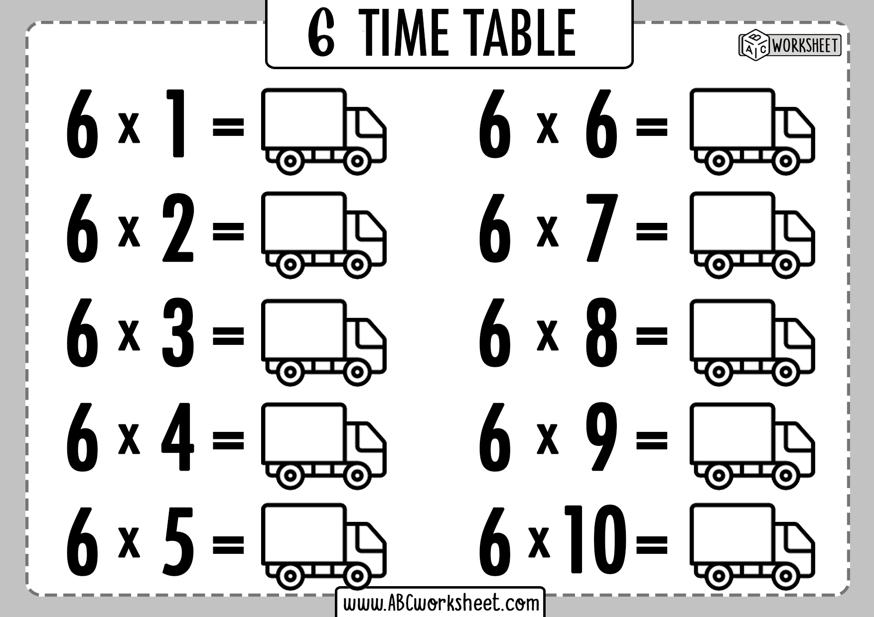 Times Tables Practice Worksheet