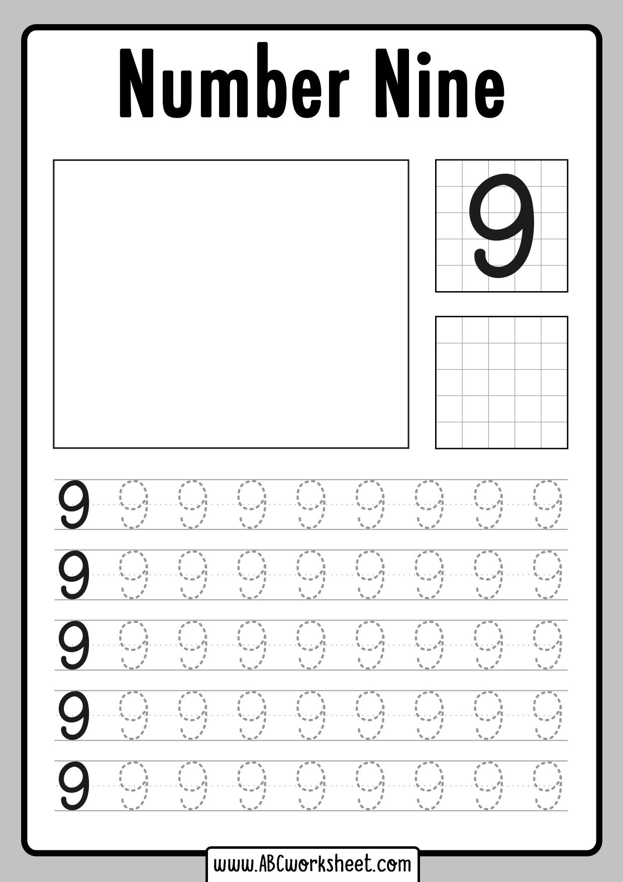 Tracing Number 9 Worksheet