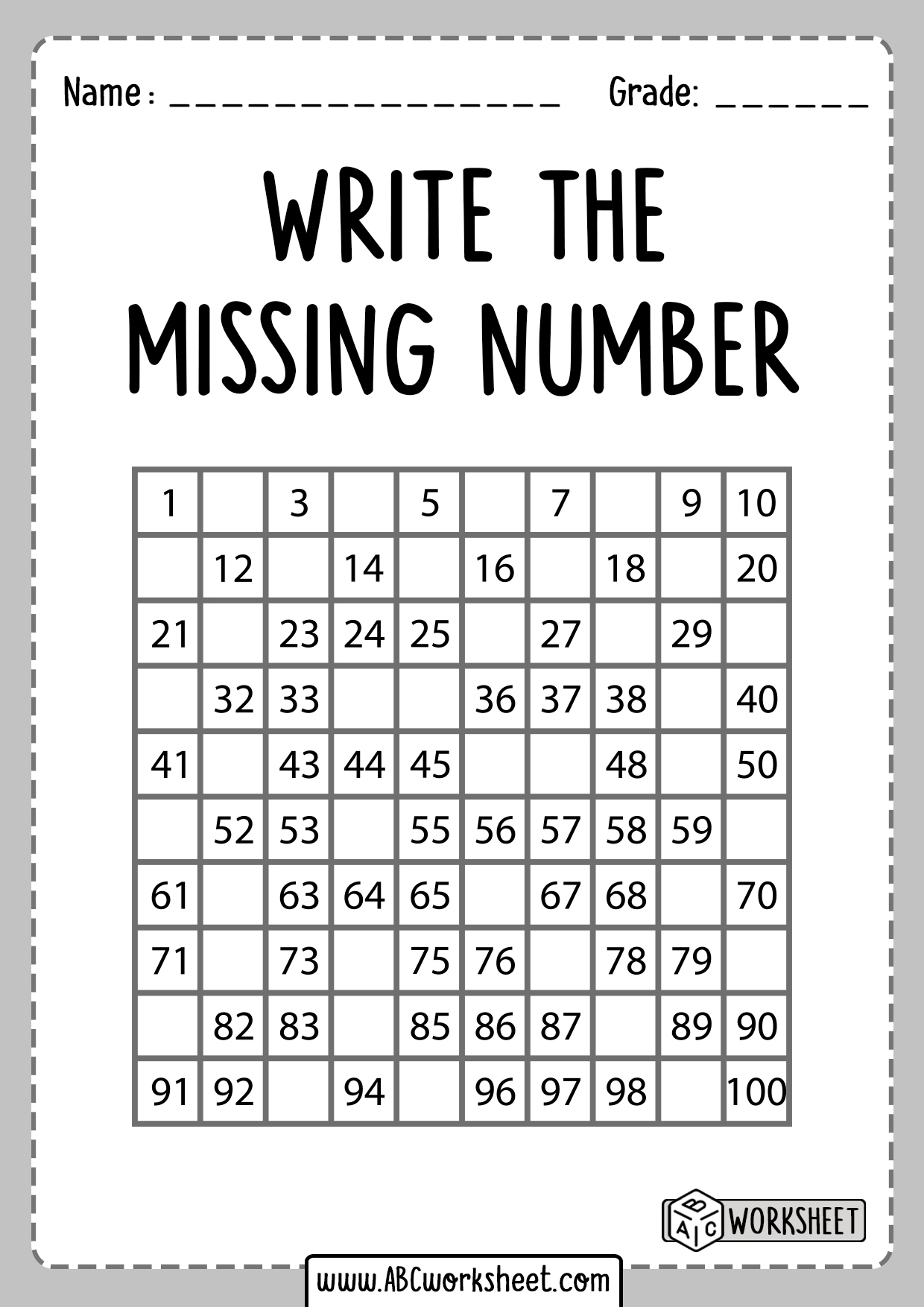 Write The Missing Number 1 100