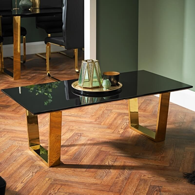 antibes high gloss black coffee table with gold legs