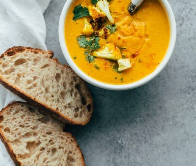 Roasted Cauliflower Soup With Coconut And Turmeric This Healthy Cauliflower Soup Recipe Is Flavored With