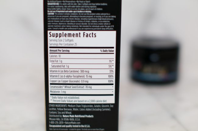 Supplement facts Glow Nature Made