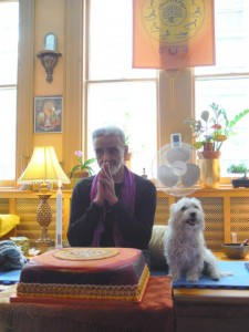 Sri Dharma Mittra on his 75th birthday and his dog Baxter.