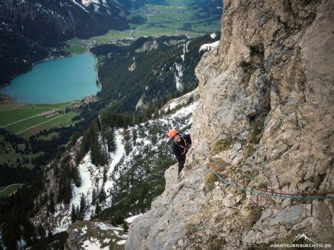 Klettern vor der schönen Kulisse des Tannheimer Tals