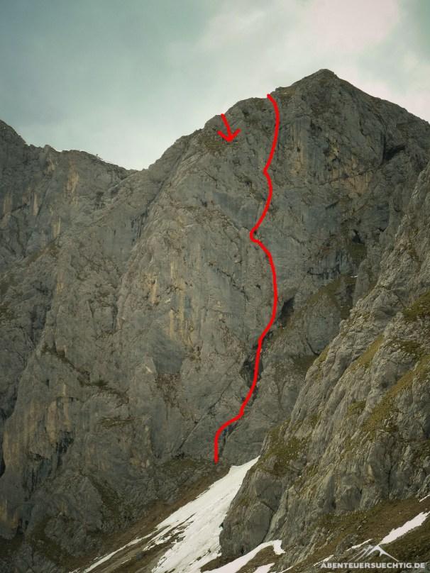 Der ungefähre Routenverlauf der Wirklich oben bist du nie
