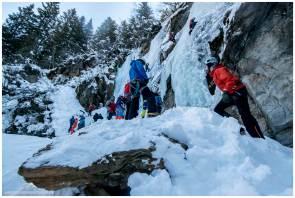 Viel Betrieb in den Eisfällen der Taschachschlucht