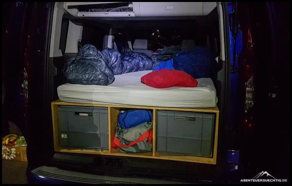 Die erste Nacht auf der komplett fertigen Campingbox