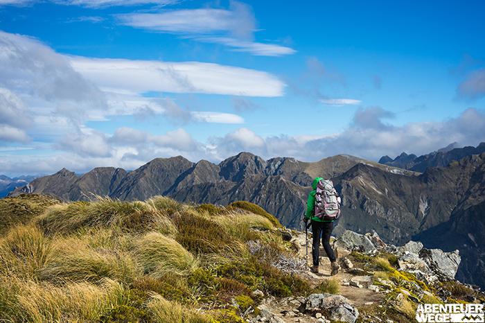 Wanderer auf dem Kepler Track auf der Südinsel Neuseelands