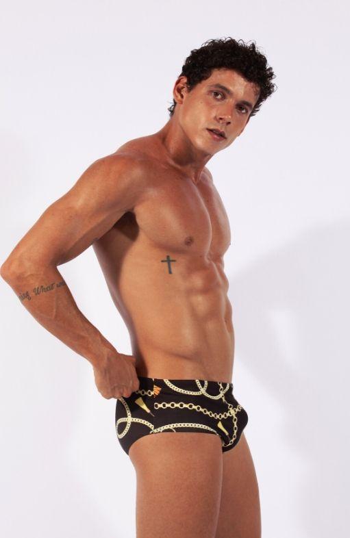 Sunga de Praia Preta slim ou slip estampada listrada 2020 aberbeach moda praia masculina
