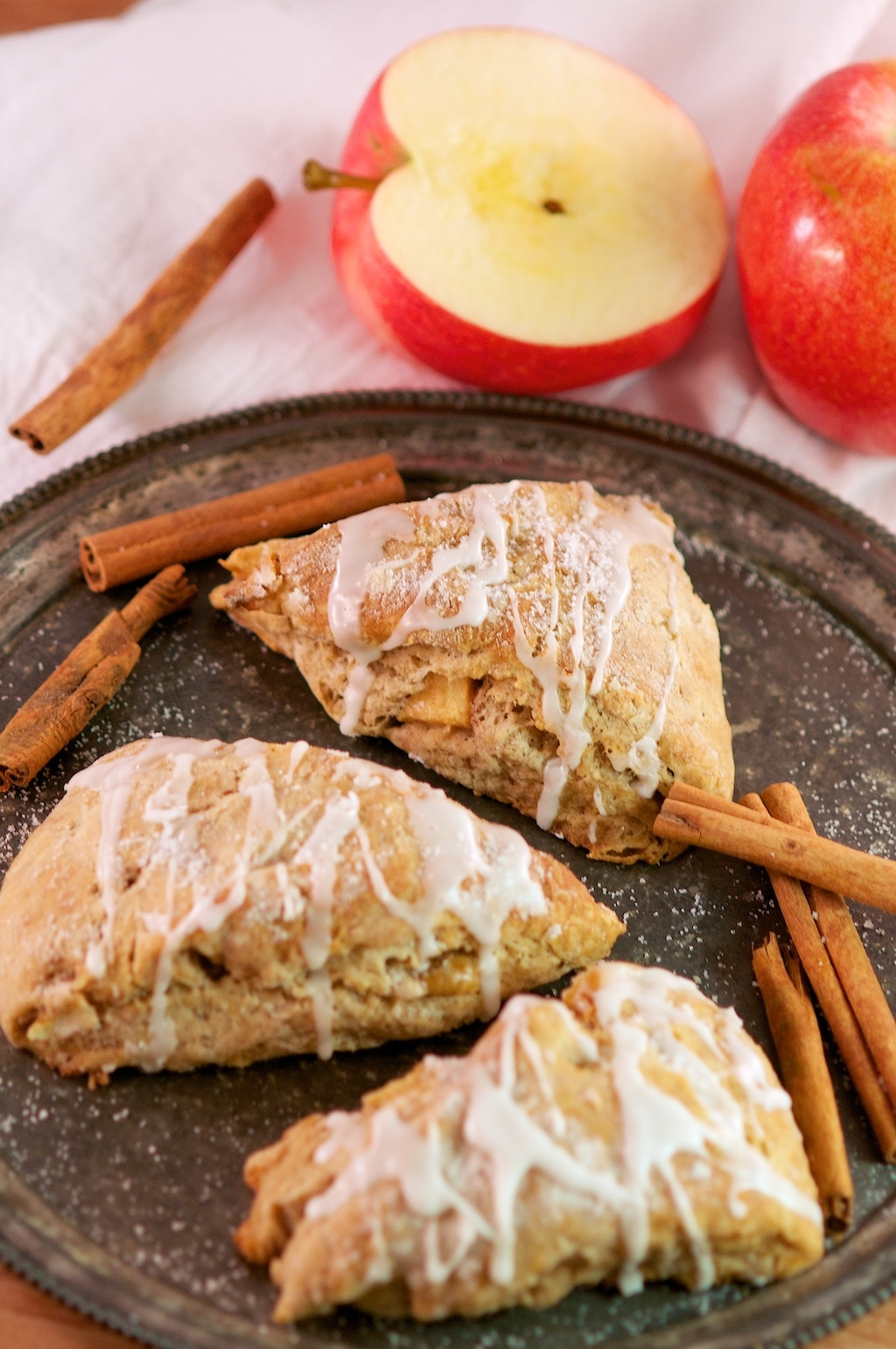 Glazed Apple Cinnamon and Buttermilk Scones | aberdeenskitchen.com