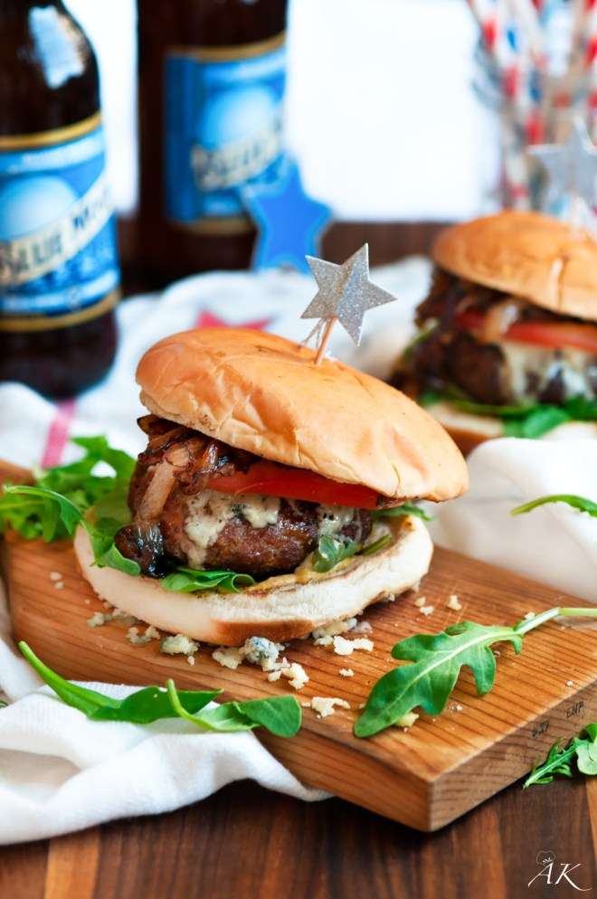 4th of July Blue Cheese Burgers with Blue Moon