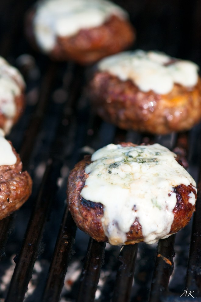 Blue Cheese Burgers on the Grill