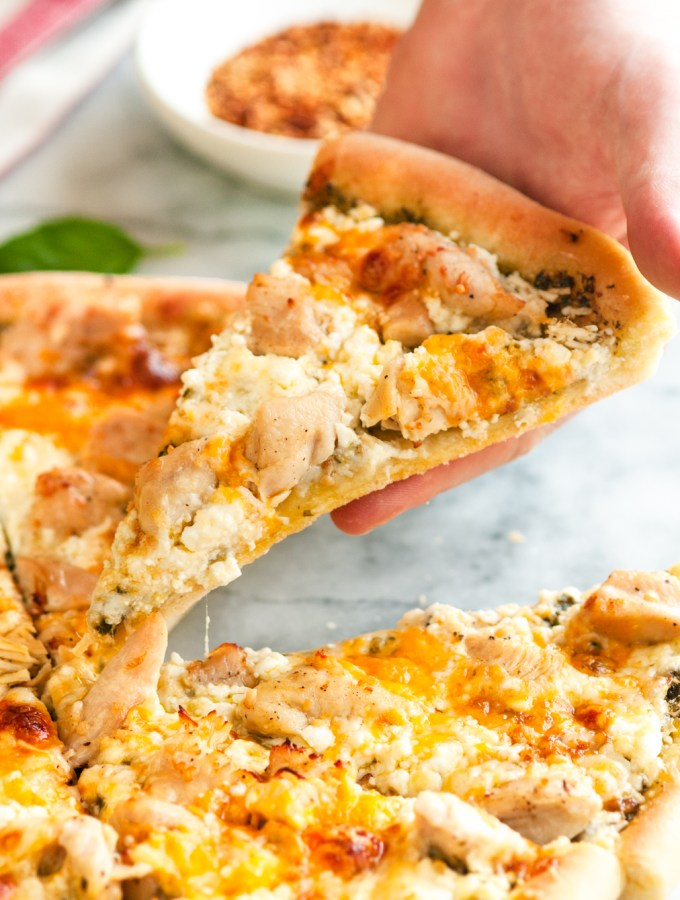 Five Cheese Garlic Chicken and Pesto Pizza
