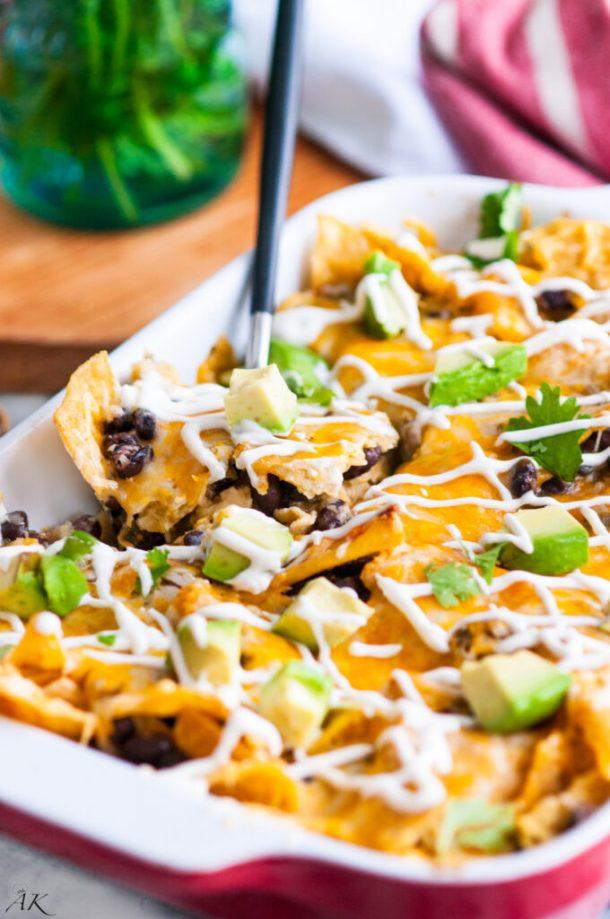 Vegetarian Black Bean Chilaquiles Casserole
