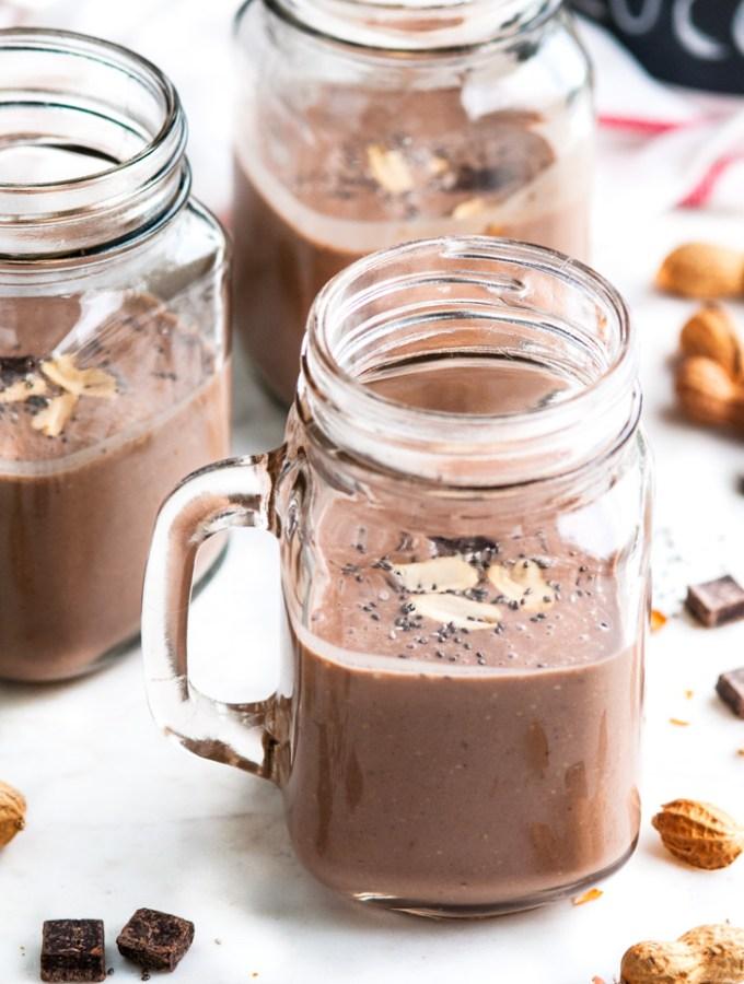 Healthy Chocolate Banana Peanut Butter Protein Shake