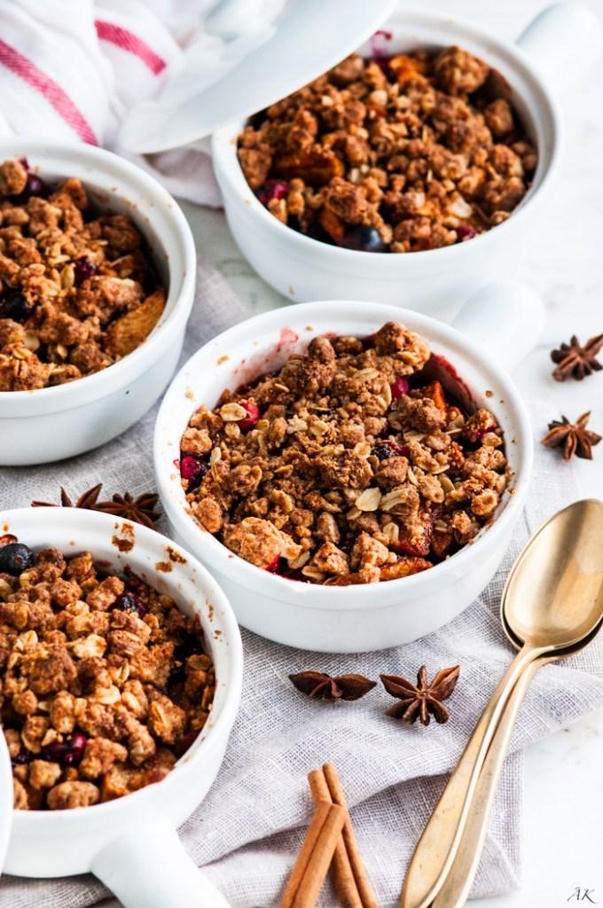 Chai Spice Apple Cranberry Crumble | aberdeenskitchen.com