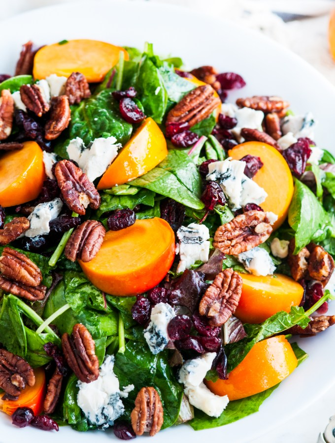 Candied Pecan Persimmon Gorgonzola Salad