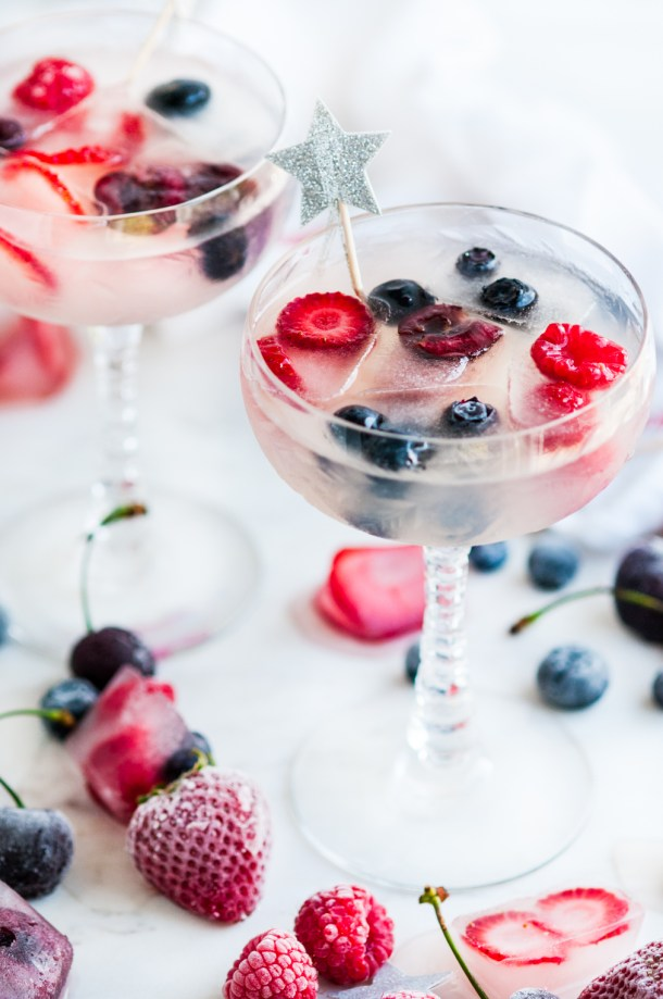 Coconut Daiquiris with Coconut Berry Ice Cubes | aberdeenskitchen.com