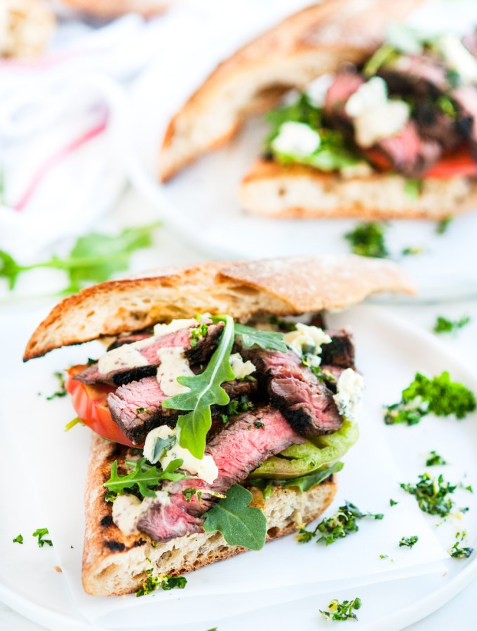 Grilled Balsamic Steak Sandwiches with Gremolata and Mustard Sauce