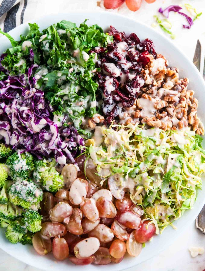 Chopped Brussel Sprout Kale Salad with Creamy Pomegranate Vinaigrette