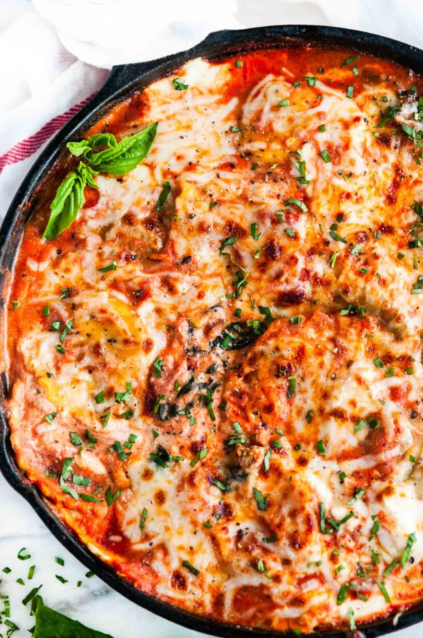 One Pot Skillet Ravioli Lasagna with Spinach and Kale | aberdeenskitchen.com