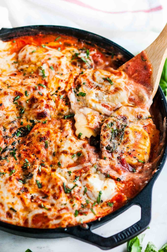 One Pot Skillet Ravioli Lasagna with Spinach and Kale | aberdeenskitchen.com