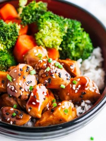 Chicken Teriyaki Bowls with Homemade Sauce Close Up