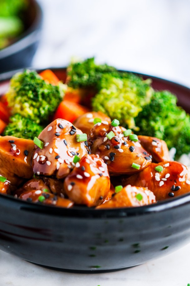 Chicken Teriyaki Bowls with Homemade Sauce Side View