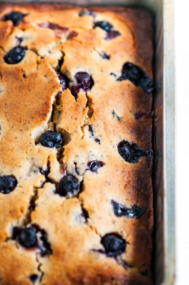 Lemon Blueberry Poppy Seed Bread in bread pan