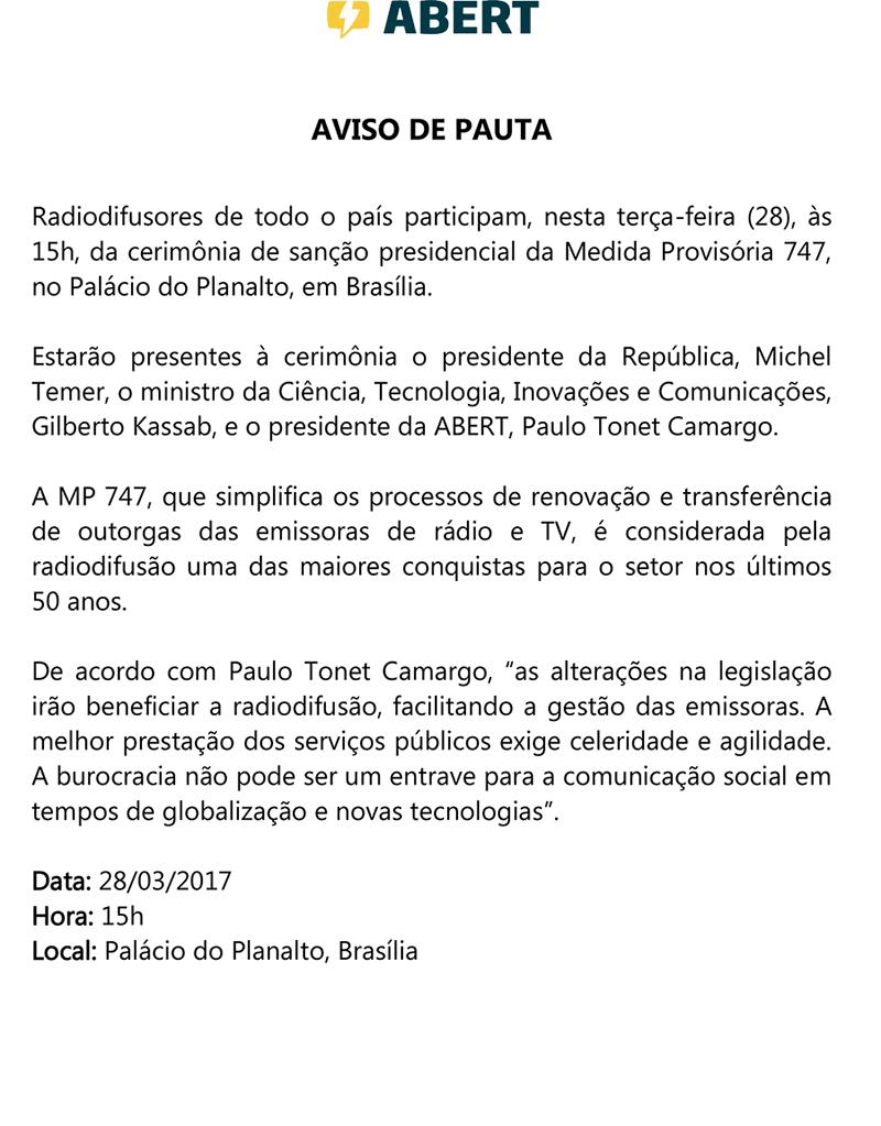 AVISO DE PAUTA SOLENIDADE PALACIO MP747