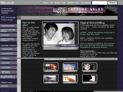 BBC Capture Wales website showcased many digital storytelling innovations
