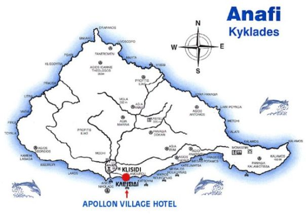 map of Anafi, Cyclades, Greece