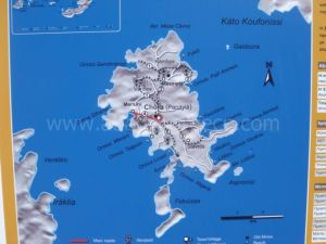 Schinnousa map, Cyclades, Greece