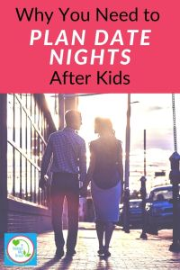 Couple holding hands with text overlay Why You Need to Plan Date Nights After Kids